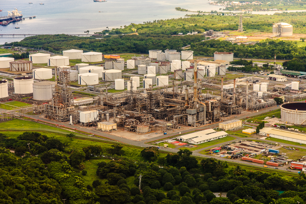 an aerial shot of Shell Refinery in Batangas