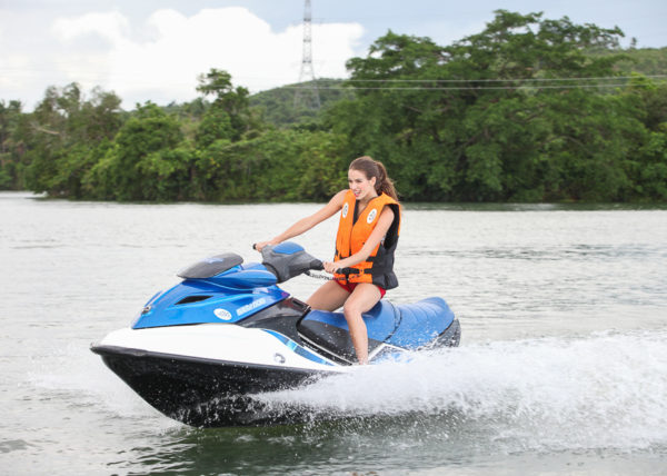 Enjoying the jet ski