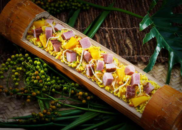 luncheon meat in bamboo