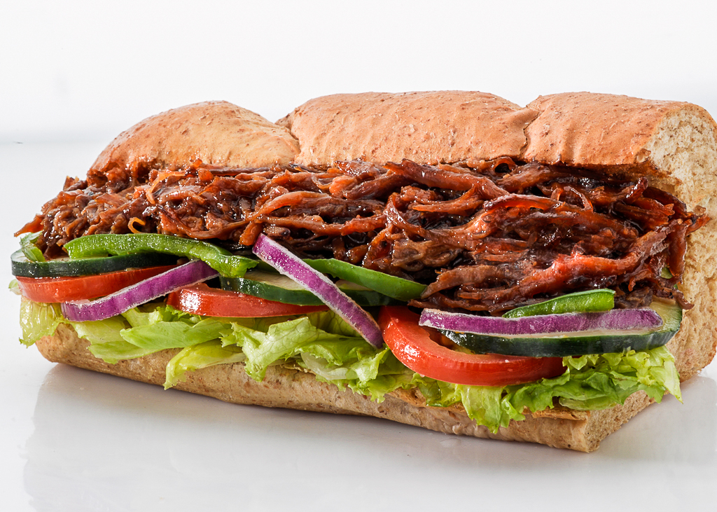meat and vegetable sandwich from Subway